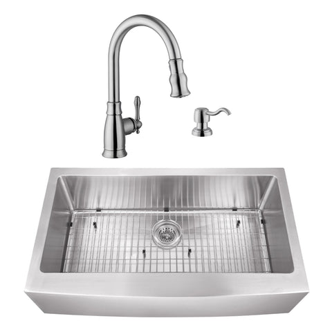 "36"" Stainless Steel Single Bowl Farmhouse Sink Set with Faucet"