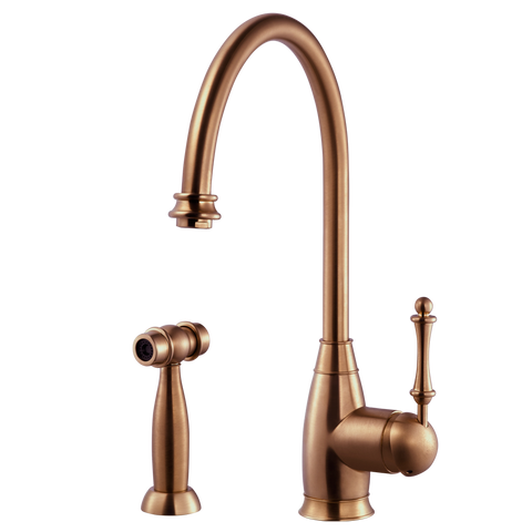 Houzer Charlotte Solid Brass Kitchen Faucet with Sidespray Antique Copper, CHASS-682-AC
