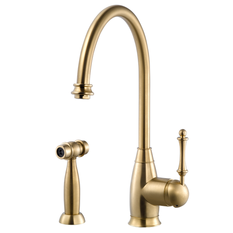 Houzer Charlotte Solid Brass Kitchen Faucet with Sidespray Brushed Brass, CHASS-682-BB