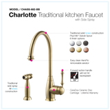 Houzer Charlotte Solid Brass Kitchen Faucet with Sidespray Brushed Brass, CHASS-682-BB - The Sink Boutique