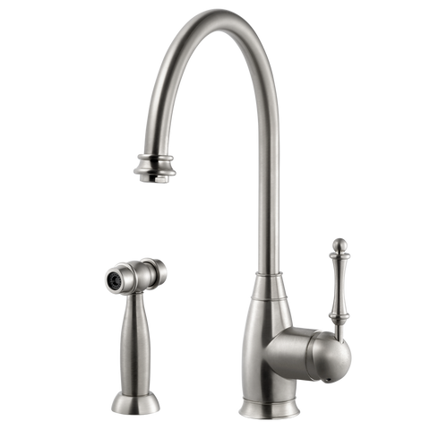 Houzer Charlotte Solid Brass Kitchen Faucet with Sidespray Brushed Nickel, CHASS-682-BN