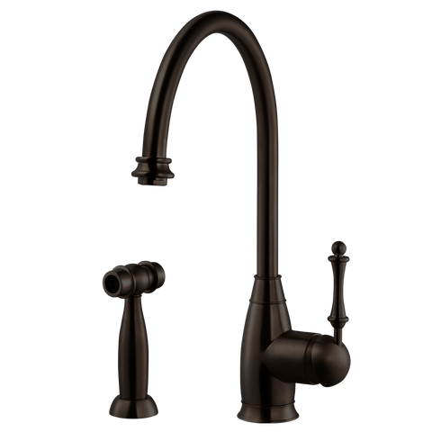 Houzer Charlotte Solid Brass Kitchen Faucet with Sidespray Oil Rubbed Bronze, CHASS-682-OB