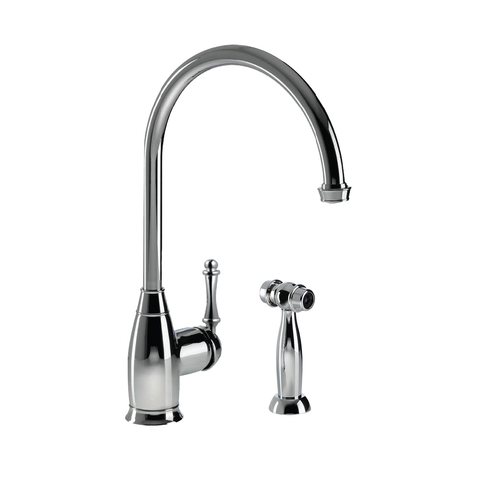 Houzer Charlotte Traditional Solid Brass Kitchen Faucet with Sidespray Polished Chrome, CHASS-682-PC