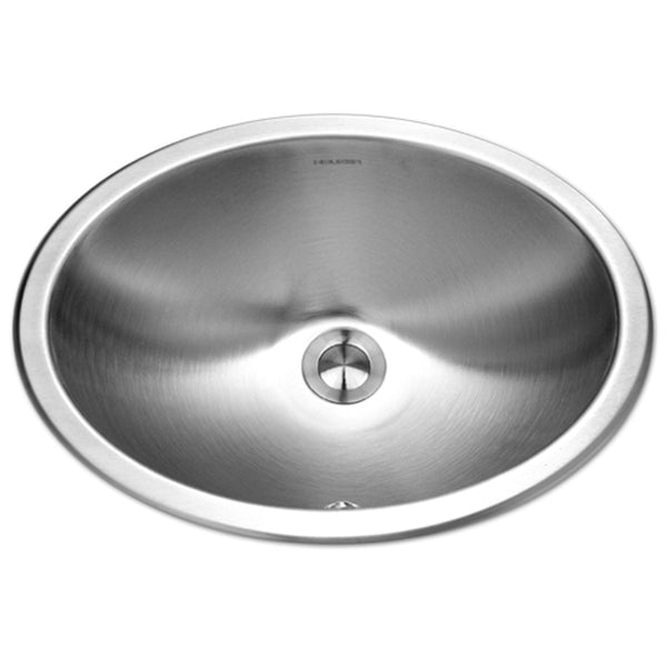 "Houzer 18"" Stainless Steel Undermount Bathroom Sink, Oval, with Overflow, CHO-1800-1"