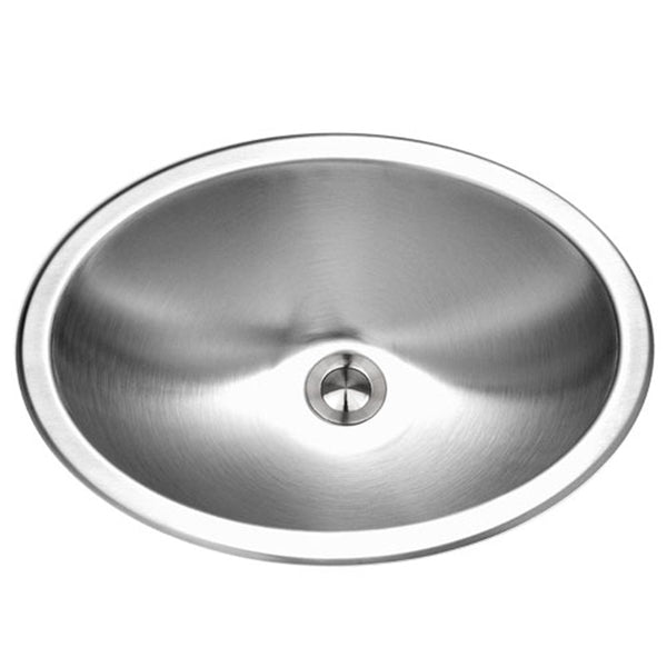 "Houzer 18"" Stainless Steel Topmount Bathroom Sink, Oval, CHT-1800-1"