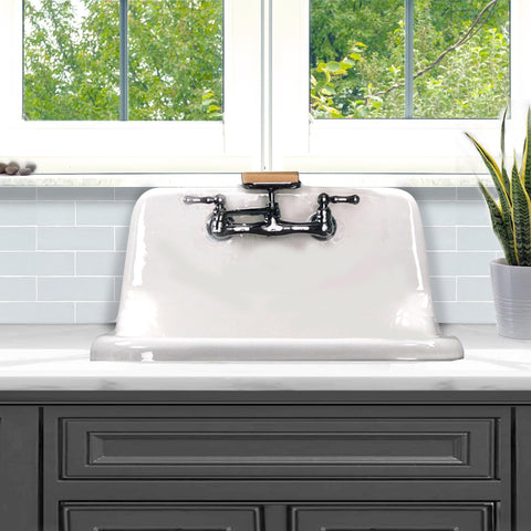 "Nantucket Sinks Anchor 22"" Wallmount Cast Iron Utility Sink, White/Black, CI-2218WNRG"