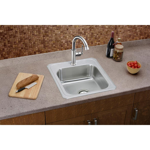 Elkay LKEC2012LS Explore Single Hole Bar Faucet with Forward Only Lever Handle Lustrous Steel