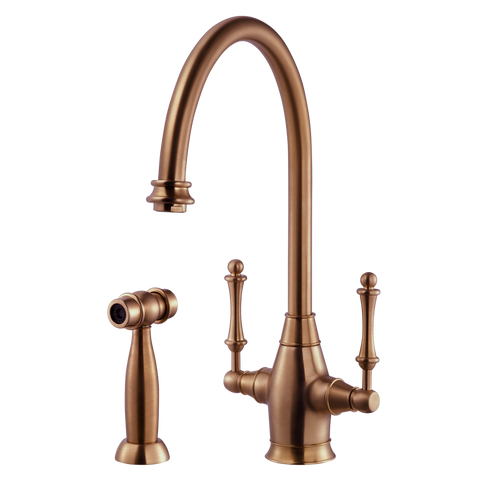 Houzer Charleston Two Handle Kitchen Faucet with Sidespray Antique Copper, CRLSS-650-AC