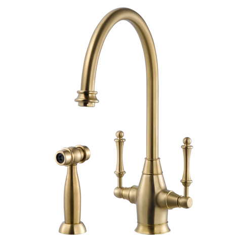 Houzer Charleston Two Handle Kitchen Faucet with Sidespray Brushed Brass, CRLSS-650-BB