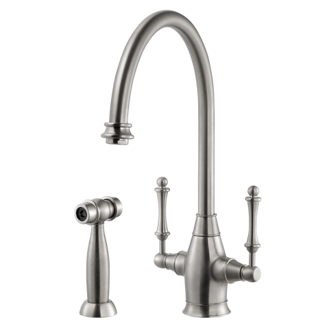 Houzer Charleston Two Handle Kitchen Faucet with Sidespray Brushed Nickel, CRLSS-650-BN