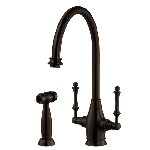 Houzer Charleston Two Handle Kitchen Faucet with Sidespray Oil Rubbed Bronze, CRLSS-650-OB