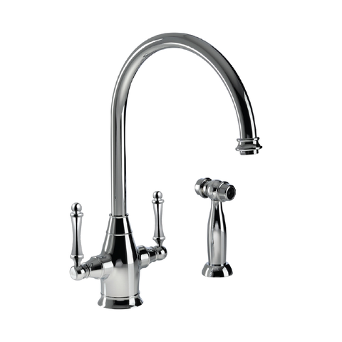 Houzer Charleston Two Handle Kitchen Faucet with Sidespray Polished Chrome, CRLSS-650-PC