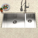 "Houzer 33"" Stainless Steel Undermount 70/30 Double Bowl Kitchen Sink, CTO-3370SR - The Sink Boutique"