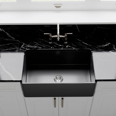 "Crestwood 30"" Fireclay Farmhouse Sink, Charcoal, CW-CL-30-CHARCOAL"