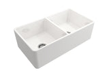 "Crestwood 33"" Fireclay Farmhouse Sink 50/50 Double Bowl, White, CW-CL-332-DBL-WHITE"
