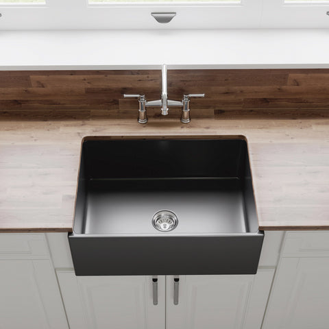 "Crestwood 27"" Fireclay Farmhouse Sink, Charcoal, CW-MOD-27-CHARCOAL"
