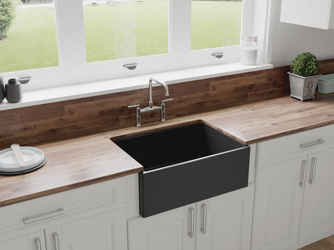 "27"" Charcoal Black Fireclay Farmhouse Sink by Crestwood 