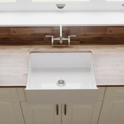 "Crestwood 27"" Fireclay Farmhouse Sink, White, CW-MOD-27-WHITE"