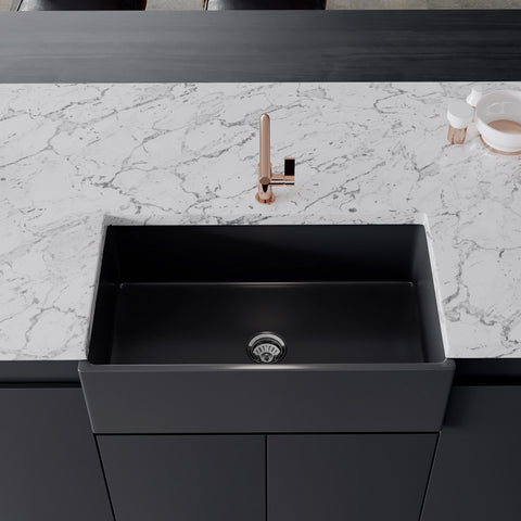 "Crestwood 33"" Fireclay Farmhouse Sink, Charcoal, CW-MOD-33-CHARCOAL"