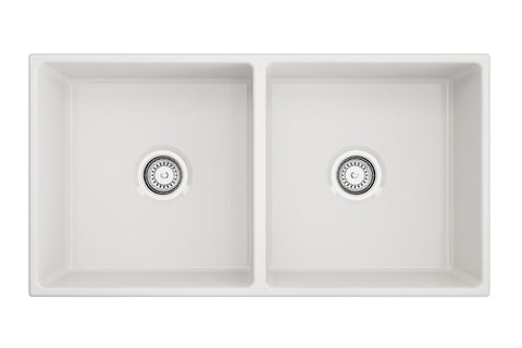 "Crestwood 36"" Fireclay Farmhouse Sink 50/50 Double Bowl, White, CW-MOD-362-DBL-WHITE"