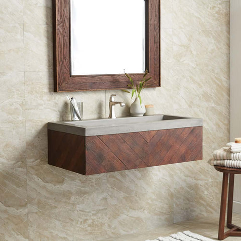 "Native Trails 36"" Cabernet Floating Vanity with NativeStone Trough in Ash, VNW194-NSL3619-A"