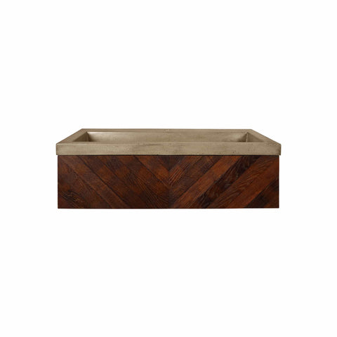 "Native Trails 36"" Cabernet Floating Vanity with NativeStone Trough in Earth, VNW194-NSL3619-E"