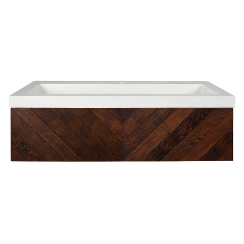 "Native Trails 36"" Cabernet Floating Vanity with NativeStone Trough in Pearl, VNW194-NSL3619-P"
