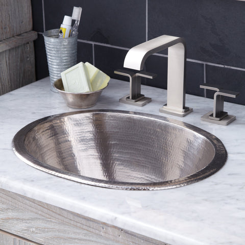 "Native Trails Cameo 17"" Rectangle Nickel Bathroom Sink, Brushed Nickel, CPS548"