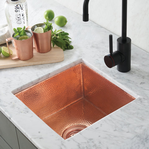"Native Trails Cantina 15"" Copper Bar/Prep Sink, Polished Copper, CPS434"