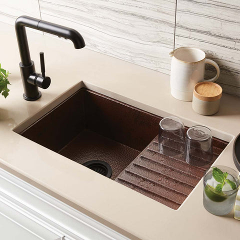 "Native Trails Cantina Pro 24"" Copper Bar/Prep Sink, Antique Copper, CPS233"