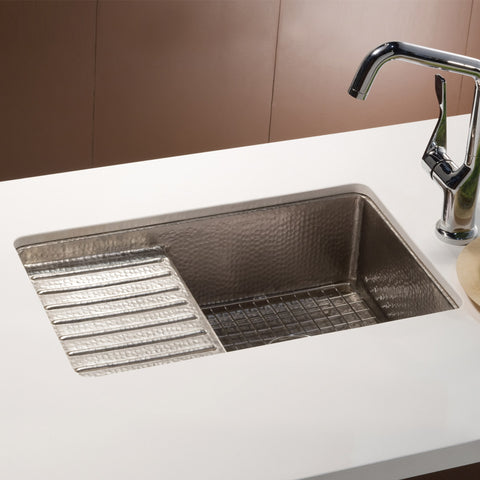 "Native Trails Cantina Pro 24"" Nickel Bar/Prep Sink, Brushed Nickel, CPS533"