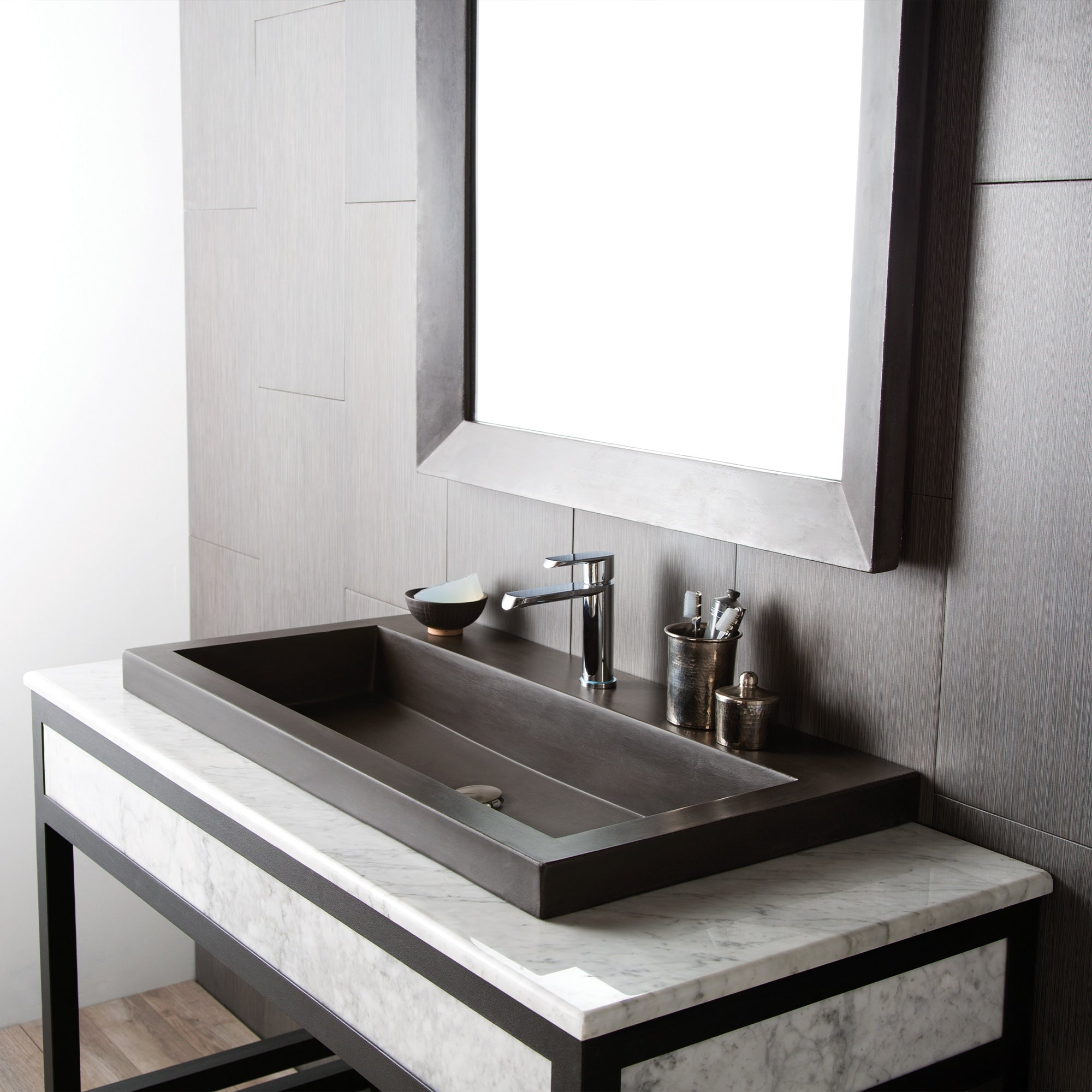 Native Trails 48 Carrara Vanity Top Trough With Single Or No Faucet The Sink Boutique