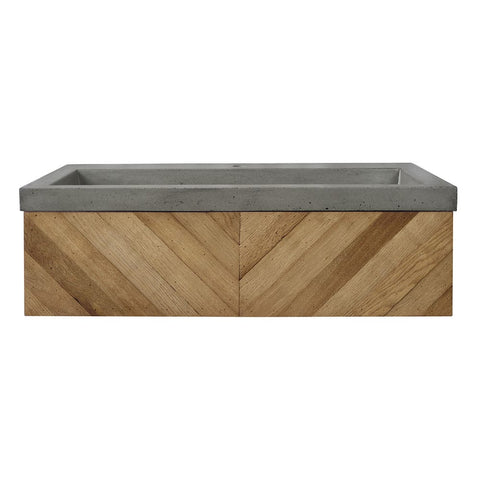 "Native Trails 36"" Chardonnay Floating Vanity with NativeStone Trough in Ash, VNW191-NSL3619-A"