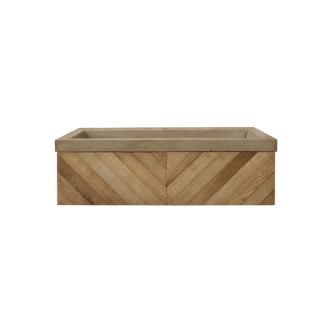 "Native Trails 36"" Chardonnay Floating Vanity with NativeStone Trough in Earth, VNW191-NSL3619-E"