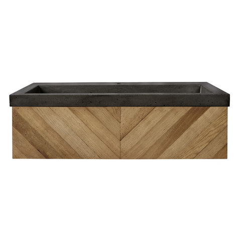 "Native Trails 36"" Chardonnay Floating Vanity with NativeStone Trough in Slate, VNW191-NSL3619-S"