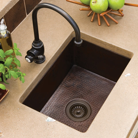 "Native Trails Cocina 22"" Copper Kitchen Sink, Antique Copper, CPK278"