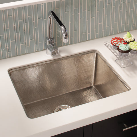 "Native Trails Cocina 24"" Nickel Kitchen Sink, Brushed Nickel, CPK579"