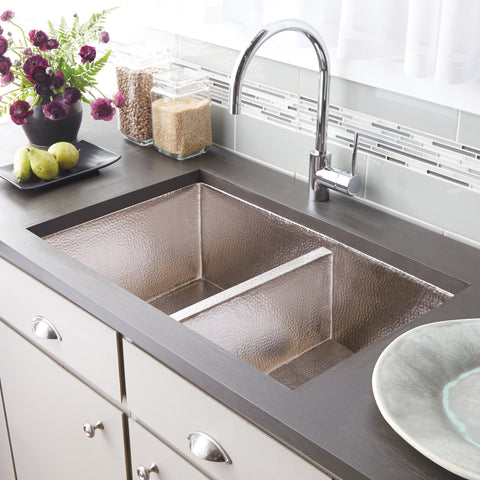 "Native Trails Cocina Duet 33"" Nickel Kitchen Sink, 60/40 Double Bowl, Brushed Nickel, CPK575"