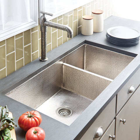 "Native Trails Cocina Duet Pro 40"" Nickel Kitchen Sink, 60/40 Double Bowl, Brushed Nickel, CPK577"
