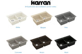 "Karran 33"" Quartz Kitchen Sink, 50/50 Double Bowl, Grey, QT-710-GR"