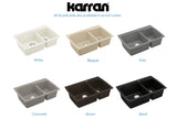 "Karran 34"" Quartz Kitchen Sink, 60/40 Double Bowl, Brown, QT-721-BR"