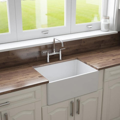 "24"" Fireclay Farmhouse Apron Kitchen Sink by Crestwood, Reversible, White, CW-7124-W - The Sink Boutique"