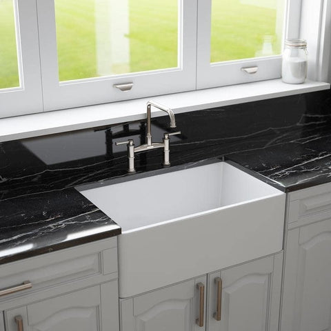 "30"" Fireclay Farmhouse Apron Kitchen Sink by Crestwood, Reversible, White, CW-7130-W"