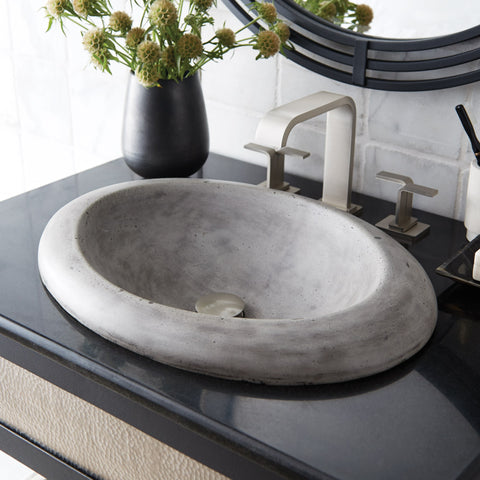 "Native Trails Cuyama 21"" Rectangle Nativestone Concrete Bathroom Sink, Ash, NSL2115-A"