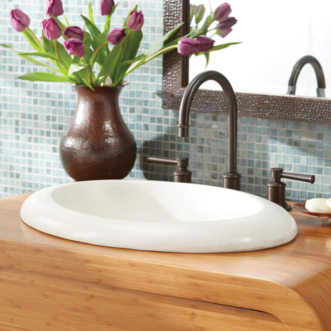 "Native Trails Cuyama 21"" Rectangle Nativestone Concrete Bathroom Sink, Pearl, NSL2115-P"