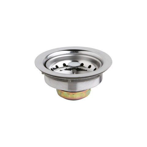 "Elkay Dayton D1125 3-1/2"" Stainless Steel Drain with Removable Basket Strainer and Rubber Stopper"