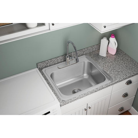 "Elkay Pursuit 25"" Stainless Steel Laundry Sink, Brushed Satin, DCR2522104"