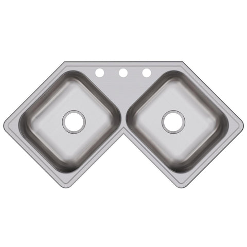 "Elkay Dayton 32"" Stainless Steel Kitchen Sink, 45/55 Double Bowl, Elite Satin, DE217323"