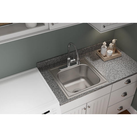 "Elkay Dayton 20"" Stainless Steel Laundry Sink, Premium Highlighted Satin, DPC12020101"