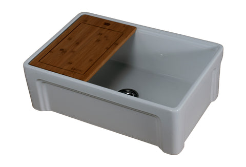 "Empire Industries Tosca 30"" Fireclay Farmhouse Sink, White, TO30"